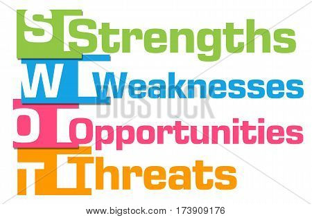 SWOT concept image with text written over colorful background.