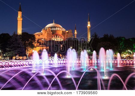 Istanbul Mosque Fountain In The Night Turkey
