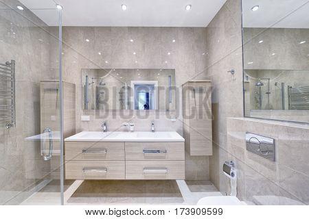 Russia Moscow Modern interior bathroom design urban real estate