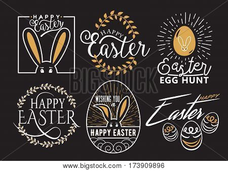 Vector illustration of Easter wishes logo, typography lettering labels design set. Retro holiday badges template with bunny, eggs, floral element isolated on black background
