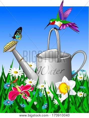 old watering can in the garden field vector and illustration