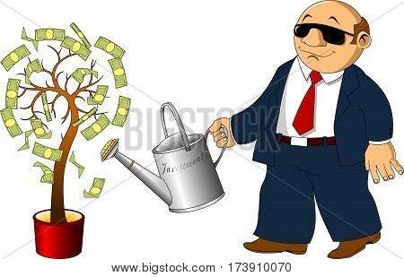 businessman pours from a watering money tree