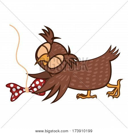 Set Vector Illustrations isolated character cartoon playing owl with bow emoticons for site, info graphics, reports, comics