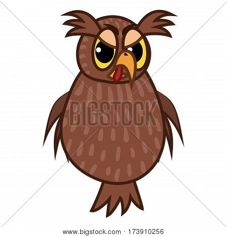 Vector Illustrations isolated character cartoon angry owl emoticons for site, info graphics, reports, comics