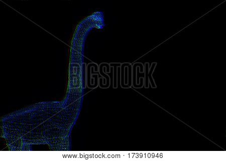 Dinosaur Brachiosaurus in Hologram Wireframe Style. Nice 3D Rendering