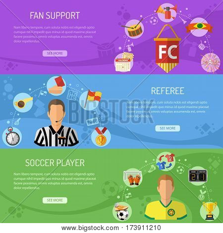 Soccer horizontal banners set with flat icons referee, championship, player and trophy. vector illustration