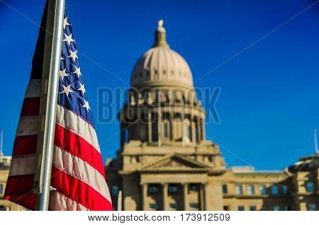 A flag outside of the Boise, Idaho capitol building