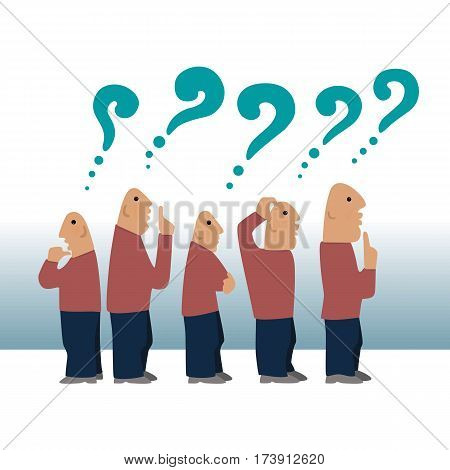 The crowd of five bald men in thinking with question marks over their heads