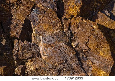 Brown Basalt rocks with iron elements and impurities