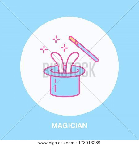 Magician line icon. Vector logo for illusionist, party service or event agency. Linear illustration of magic wand and rabbit in hat. poster