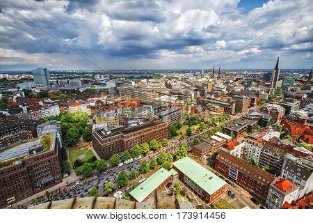 HAMBURG GERMANY - JUNE 10: Overlook from the Michelin Tower during the arrival of bikers to the old town part of Hamburg Germany in 2012