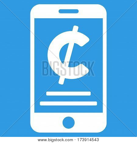 Cent Mobile Payment vector icon. Illustration style is a flat iconic white symbol on blue background.