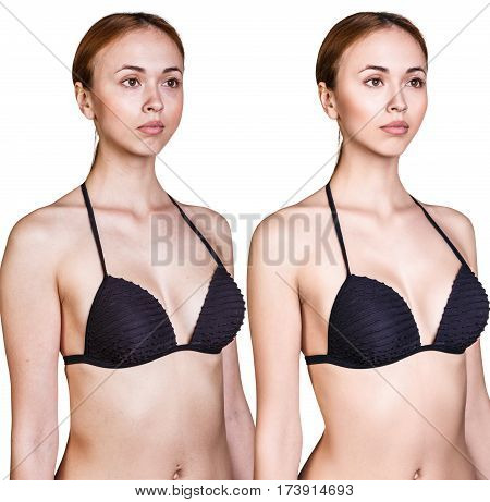 Woman's body before and after weightloss over white background