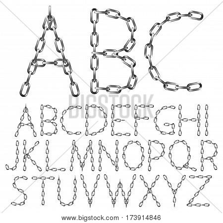 Vector alphabet letters made from metal chain isolated on white