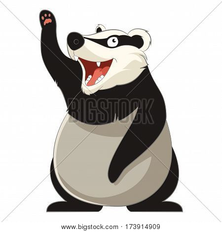 Vector image of the Cartoon smiling Badger