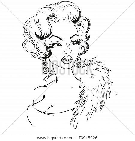 MARCH 1 2017: A vector illustration of a portrait of Marilyn Monroe. Cartoon portrait isolated vector editorial. Monroe superstar idol actress singer sexy woman.