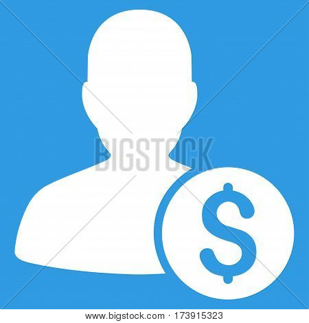 Investor vector pictogram. Illustration style is a flat iconic white symbol on blue background.