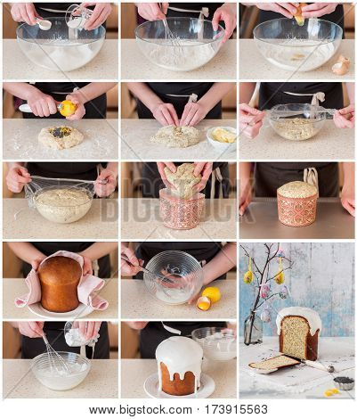 A Step By Step Collage Of Making Easter Bread