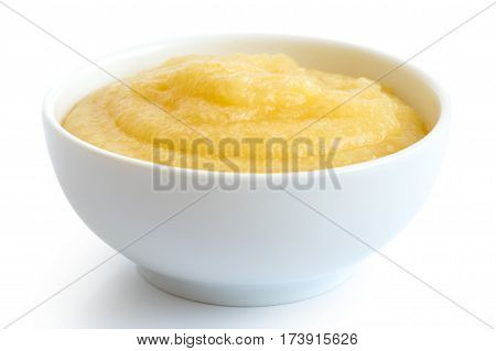 Cooked Cornmeal Polenta In White Ceramic Bowl Isolated On White.