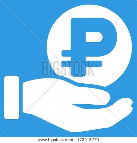 Rouble Coin Payment Hand vector pictograph. Illustration style is a flat iconic white symbol on blue background.