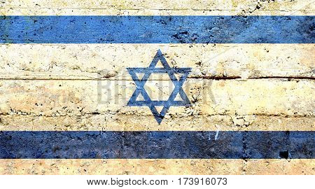 Israeli flag concrete texture. Abstract flag background