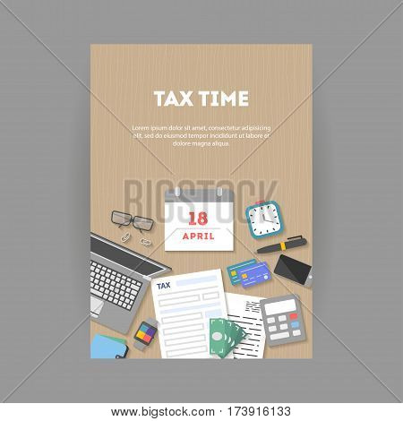 Vertical banner and icon set, flat design. Payment of tax. State taxes, analysis of financial data, statistics, calculation of tax return top view. Objects workplace and devices for web, vector