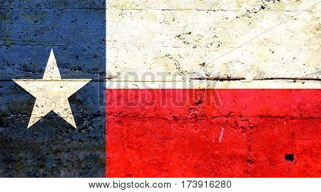 Texas flag concrete texture. Abstract flag background