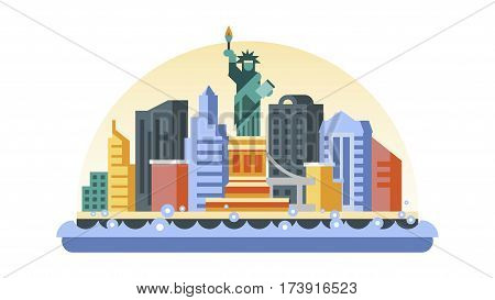 Vector illustration background icon in flat style architecture buildings monuments town city country travel USA, welcome New York, Statue of Liberty, United States of America, bridge, skyscrapers