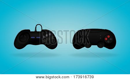 Black Gamepad. Realistic video game controller Vector illustration