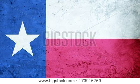 Texas flag cement texture. Abstract flag background