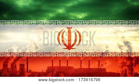 Iranian flag against industrial landscape. Abstract flag background