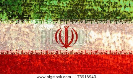 Iranian flag rusty metal texture. Abstract flag background