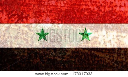 Syrian flag rusty metal texture. Abstract flag background