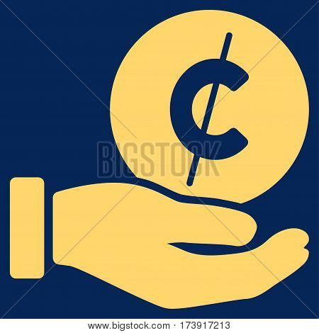 Cent Payment Hand vector pictogram. Illustration style is a flat iconic yellow symbol on blue background.