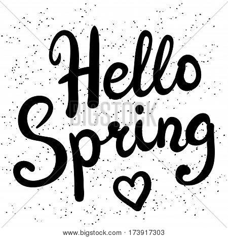Phrase Hello Spring brush pen lettering vector illustration