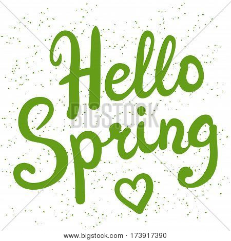Phrase Hello Spring brush pen lettering vector illustration