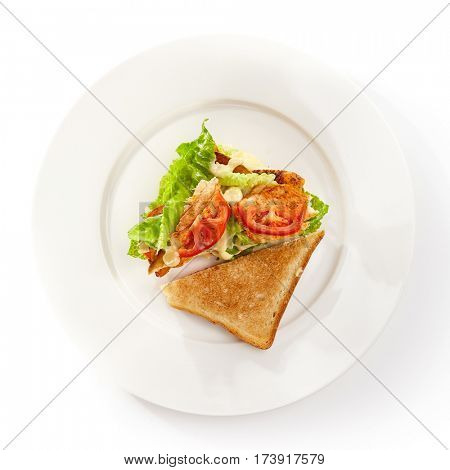 Club Sandwich with Grill Chicken, Salad and Tomato