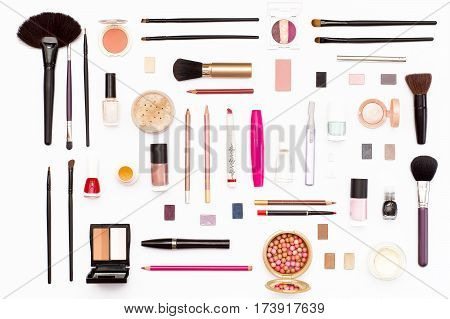 Makeup Cosmetics, Brushes And Other Accessories On White Background.