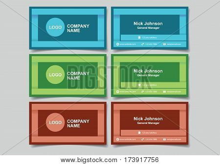 Business name cards with 3D frame design for business branding. Set of three vector illustrations of mockup with front and back view in red blue and green isolated on plain background.