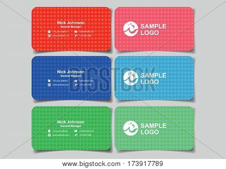 Business name cards in minimalist design for business branding. Set of three vector illustrations of mockup with front and back view in red blue and green isolated on plain background.