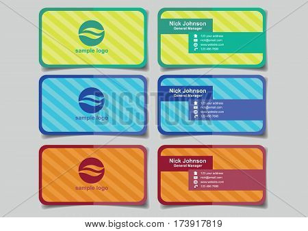 Business name cards with simple shapes on diagonal stripe pattern background design for business branding. Set of three mock up vector illustrations isolated on plain background.