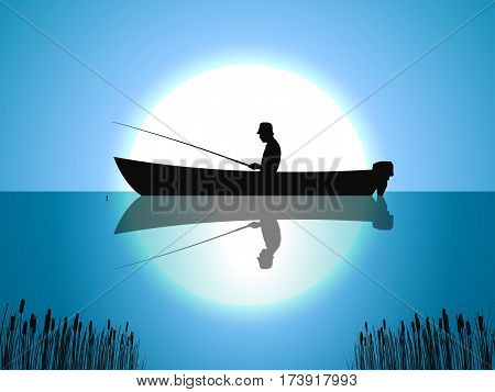 Vector illustration background fisherman on the boat fishes on the against the moon. Night fishing on the lake, on the river. Silhouette of a man sitting with a fishing rod in the boat.