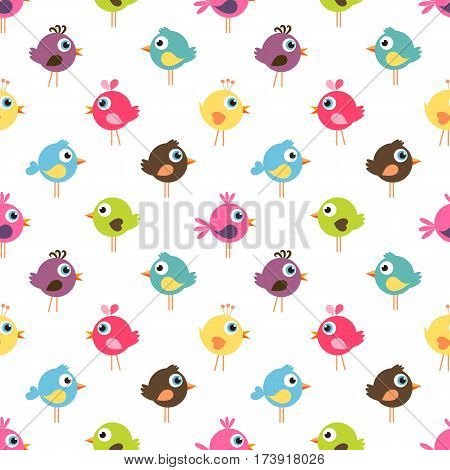 Seamless pattern with cute colorful little birds