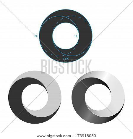 Set of three circle logotypes isolated on white background