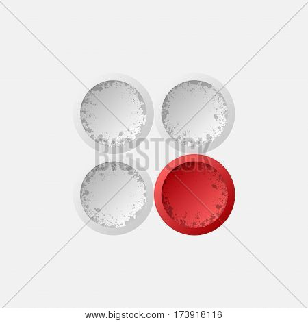 Three gray and one red grunge circles isolated on white background