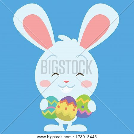 Easter bunny smiling character vector collection stock