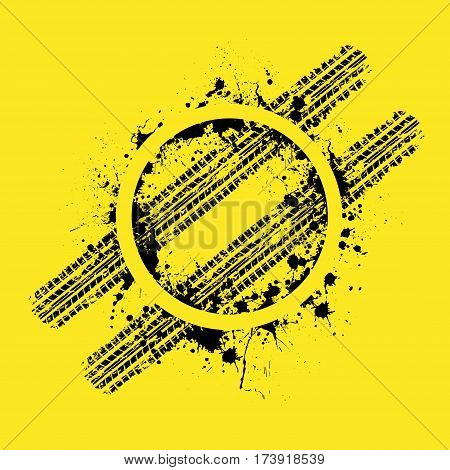 Yellow background with black ink blots and tire tracks