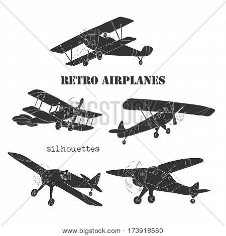 Background with Retro Airplanes. Hand drawn vintage planes sketches. Vector illustration