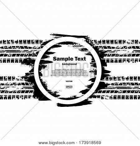 Grunge circle with sample text and tire tracks