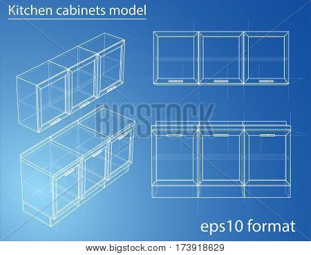 Design and manufacture of kitchen furniture. Wire-frame style. Perspective Blueprint. 3D Rendering Vector Illustration. EPS10 format